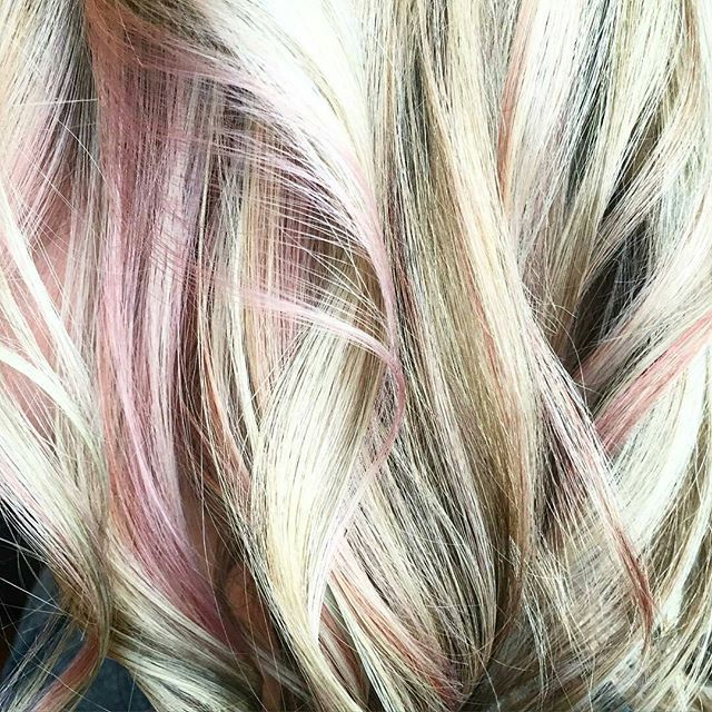 Gorgeous blonde with a pop of rose gold by Rachael Atkins! Reserve your…