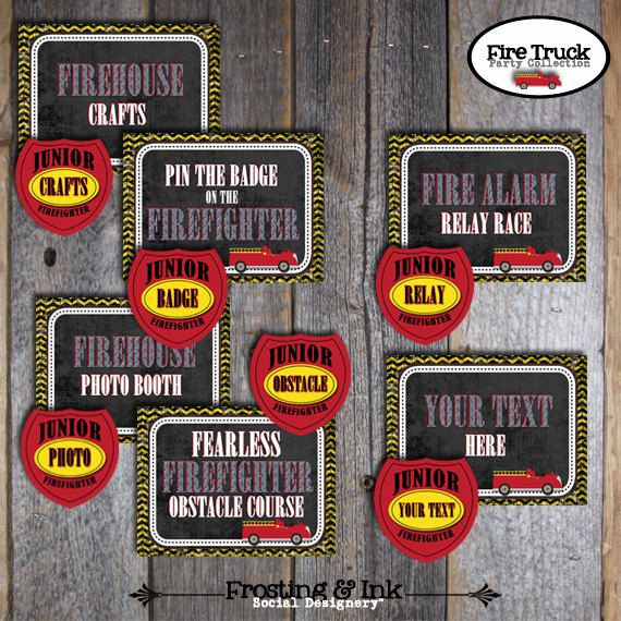 Fire Truck Birthday Party Signs