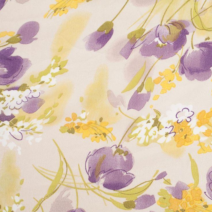 Italian Purple/Yellow Floral Printed Polyester Georgette - Fashion Fabrics
