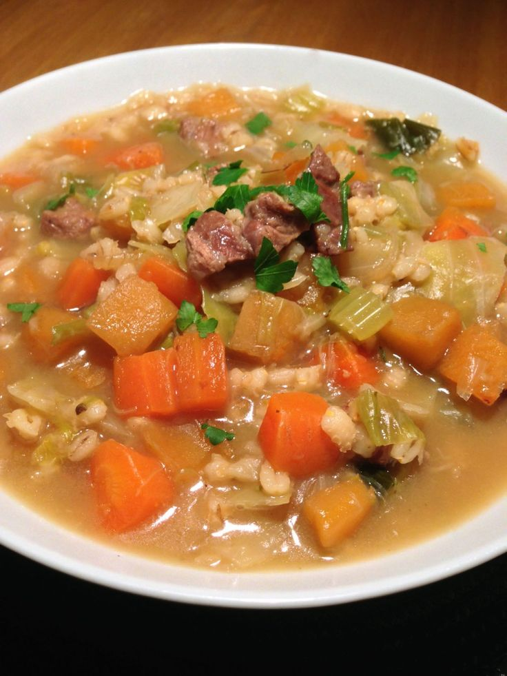 Pete made this with lamb, veggie stock and no cabbage. It was FABULOUS! Scotch Broth www.theglasgowscullery.com