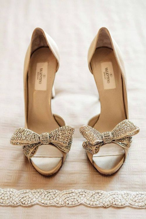 Valentino | these stunning blinged out peep-toe stilettos would make amazing wedding shoes for any bride.