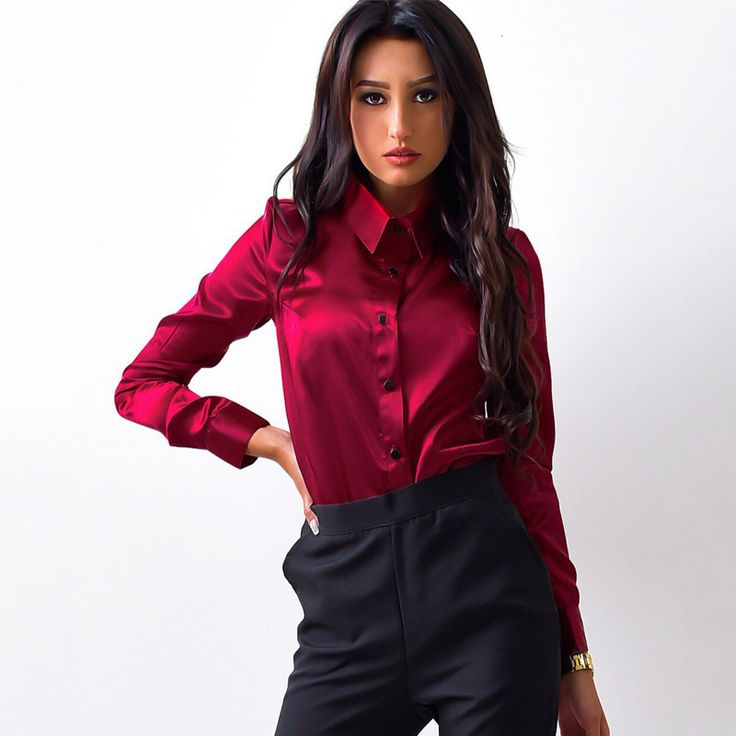 Women Long Sleeve Office Shirts Formal Blouse(Green, Pink & Burgundy Available)