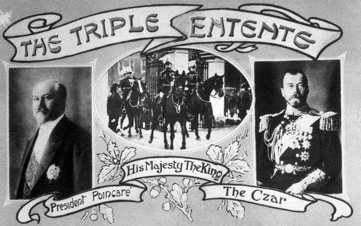 A patriotic postcard displays the three head leaders of the Triple Entente.