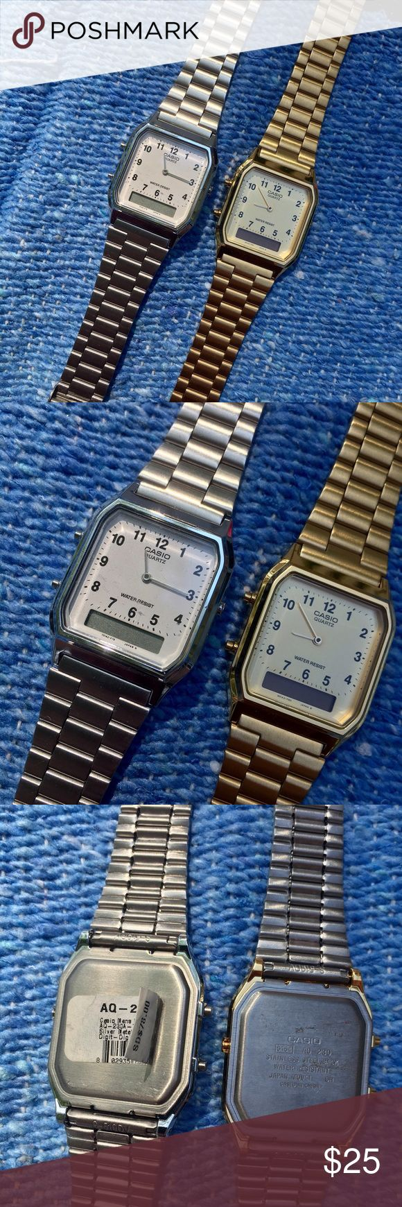 Casio Digital Analog Dual Time Wrist Watch Casio Digital Analog dual time wrist watch in GOLD or SILVER. Both are deadstock from American Apparel. One still has remnants of AA sticker tag. In great unworn condition. Batteries have expired but are cheap to replace. May have very minor surface scratches from storage. PRICE REFLECTS ONE WATCH! Tbh so cute I wanna keep them so price is v firm. 😭  American Apparel ; casio ; retro ; gold ; silver ; watch American Apparel Accessories Watches