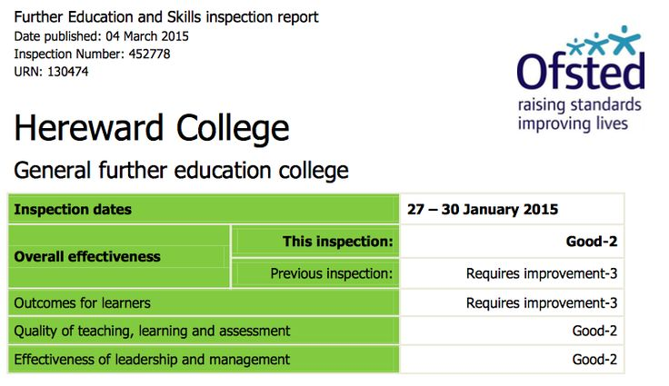 Ofstead report March 2015 on Hereward College. Did badly. http://www.hereward.ac.uk/wp-content/uploads/2015/12/Ofsted_Report_2015.pdf