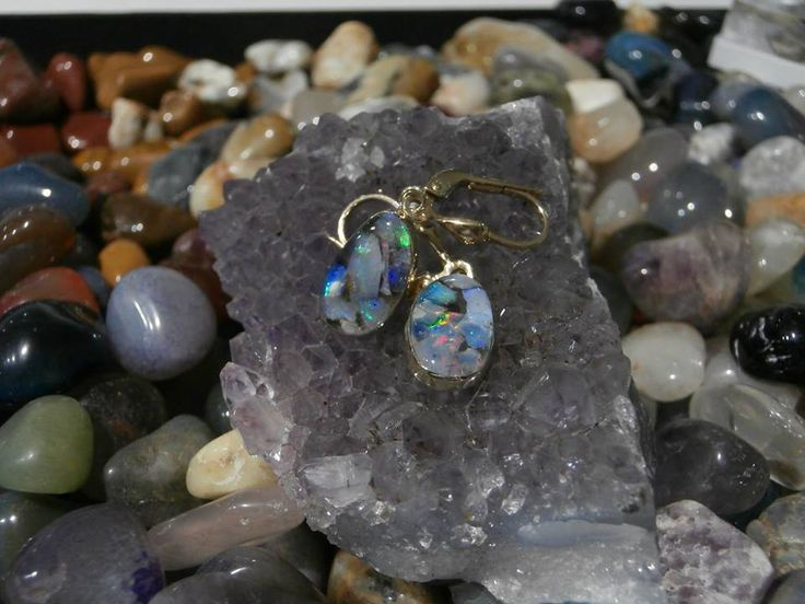 Slovakia opal. handmade 14 ct gold earrings. mosaic opal. precious opal