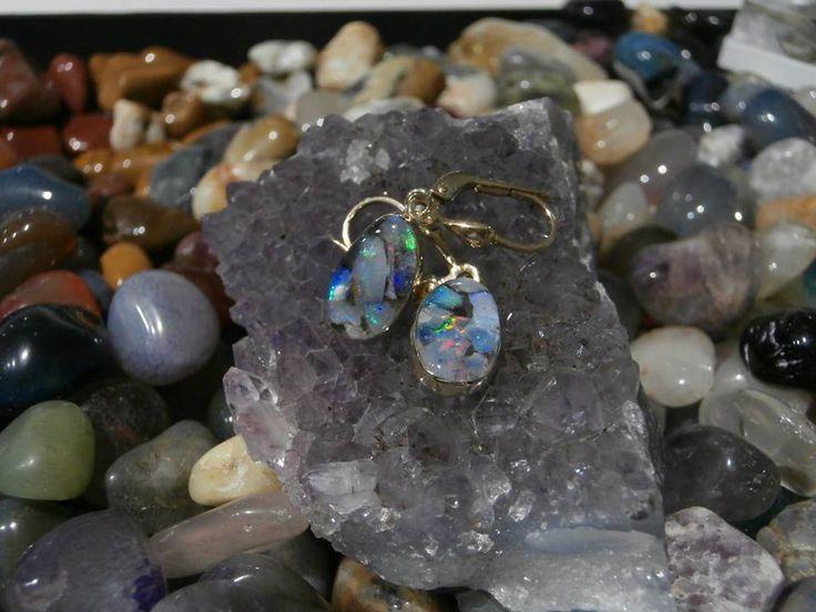 Slovakia opal. handmade 14 ct gold earrings. mosaic opal. precious opal