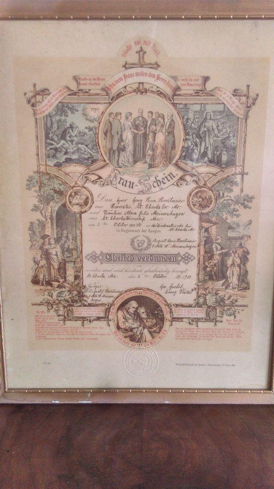 Antique German Marriage Certificate Trauschein ? St.Louis Document