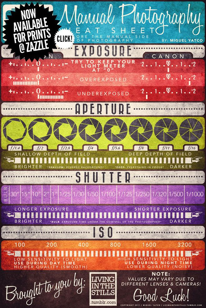 Manual photography cheat sheet for learning photographers.