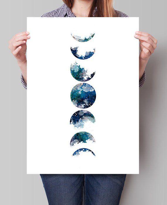 Moon Art Print, Watercolor Painting, Watercolor Art, Wall Art, Home Decor, Fine Art Print, Astronomy Print, Gifts, Art Poster, Art Deco(281) – Dagmar Peper