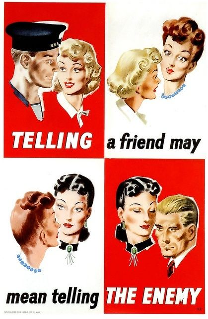 This is a propaganda poster from world war 2 and is credible because it is directly from the time period. It is also a poster that was seen in everyone's lives during the 40's. It tells us that citizens were encouraged not to talk about military pans because word could get around and the enemy would eventually find out.