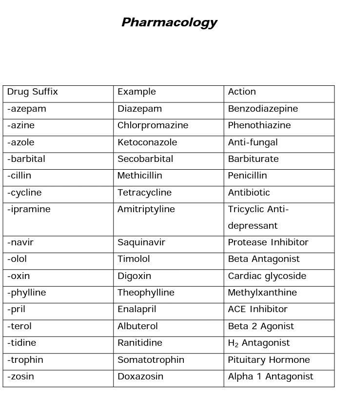 drug prefixes and suffixes pdf