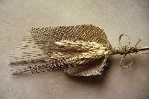 Burlap and wheat boutonnière! Beautiful and kind of manly for the groom who hates flowers. :)