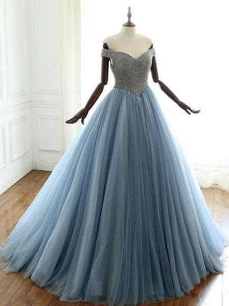 Off Shoulder Dusty Blue Beaded A-line Long Evening Prom Dresses ... 7ef4982518fe