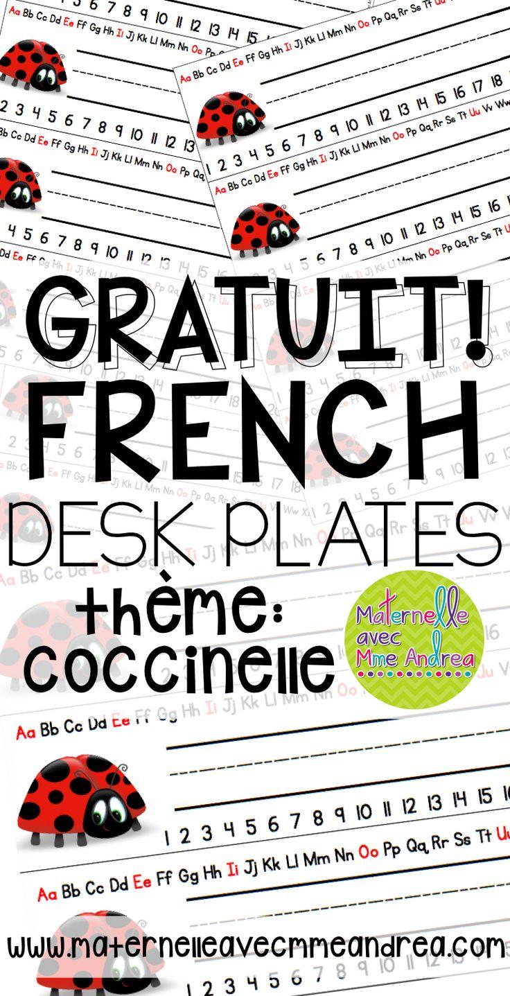 GRATUIT | FREE FRENCH desk plates | coccinelle | la rentrée | organisation