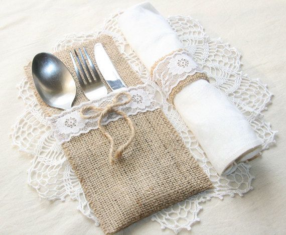 """Burlap silverware holders perfect for your rustic wedding, any other celebration or home decor! This listing is for one burlap silverware holder sample which can be decorated with lace and\or a jute bow.  The edges of every holder are stitched to prevent fraying  Silverware holder measures: 8,66"""" х 4,5""""(22cm х 11,5cm)  The shipping time is approximately 7-10 business days to Europe, 2-3 weeks to USA, Canada. The other parts of the world its about 3-4 weeks. If you have any questions please…"""