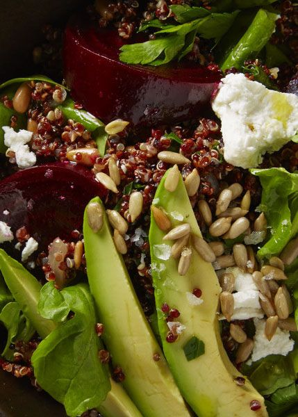 Avocado, quinoa, beet, and goat cheese salad: A great packed lunch option.