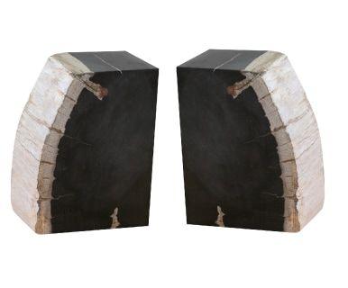 Coppia di fermalibri in legno pietrificato Kigali, 26x20x10 cm