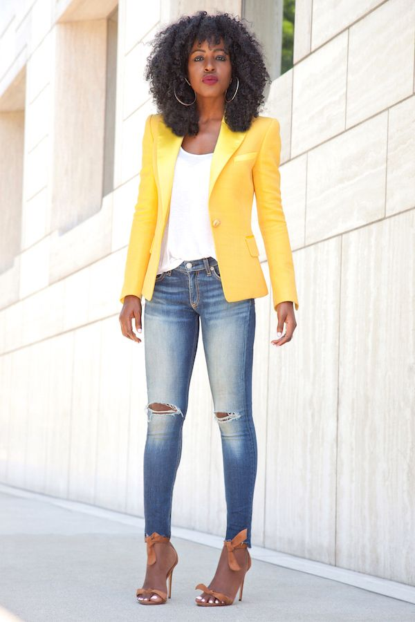 excellent denim and yellow outfit black