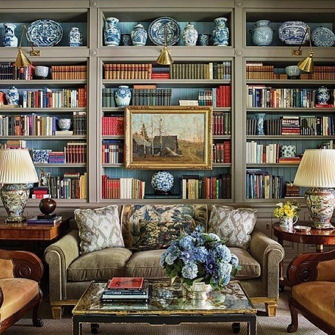 """1,817 Likes, 40 Comments - Elizabeth M. Swartz (@bunnywilliams_interiordesign) on Instagram: """"One of our favorite NYC libraries in a private townhouse with a custom color paint by…"""""""