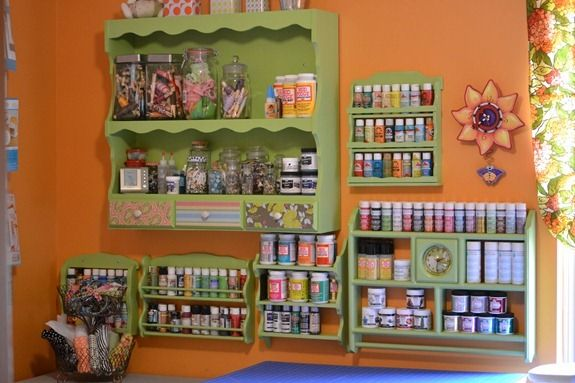 spice racks in the craft space