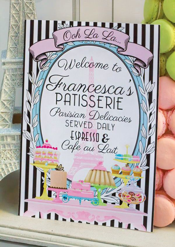 Parisian Patisserie Birthday Party Dessert Table ~ love this idea and colors