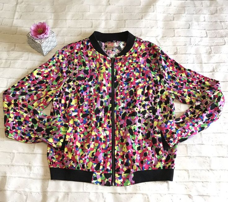 Body Central Womens Large Colorful Zip Rayon Fall Jacket Pre Owned  | eBay