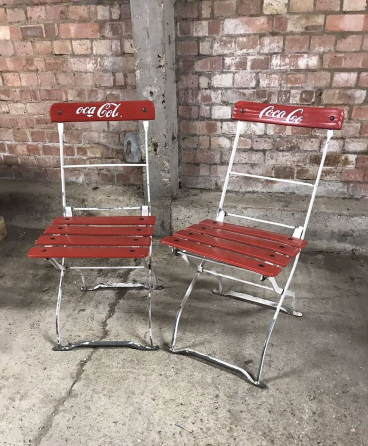 Original Pair of Retro Vintage Folding Coca Cola Cafe Style Chairs #CocaCola #chairs #advertising #vintage #retro #vintageforsale #vintageshop #retroforsale #retroshop