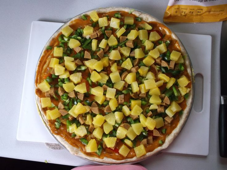 Panago inspired Veggie Korma Pizza with homemade vegan sausage