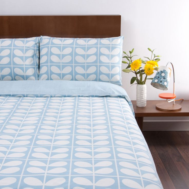 Discover the Orla Kiely Stem Grid Scribble Pillowcases - Set of 2 - Sky at Amara
