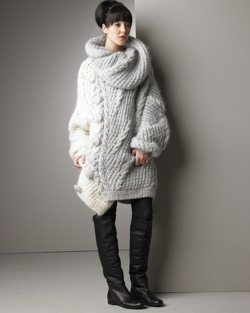 fuzzyfindings:  Nina Ricci Asymmetric Sweater  - Lovely! - and the boots…