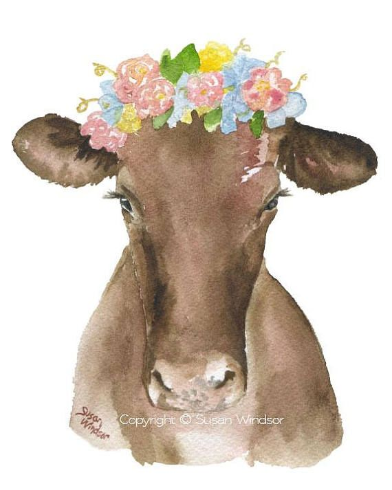 Watercolor Farm Animal Floral Art Prints Nursery Childrens Room
