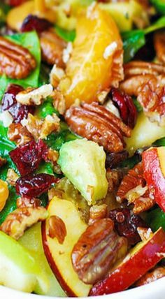 Apple Cranberry Spinach Salad with Pecans, Avocados (and Balsamic Vinaigrette Dressing) - great idea for a Spring salad!