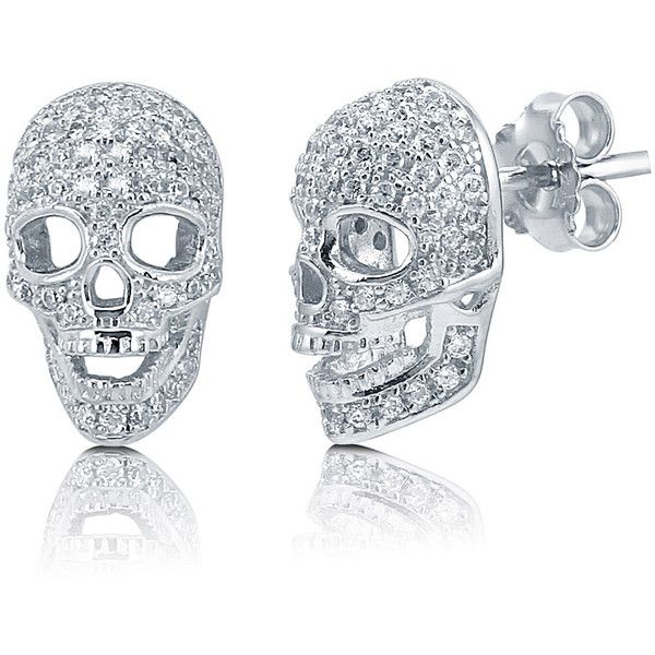 BERRICLE Sterling Silver CZ Skull Bones Fashion Statement Stud... ($43) ❤ liked on Polyvore featuring jewelry, earrings, accessories, clear, stud earrings, women's accessories, skull earrings, sterling silver jewelry, clear earrings and clear crystal earrings