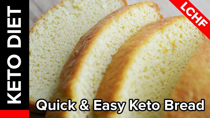 Quick & Easy Keto Bread -- 6 eggs 4 T. Butter 1.5 C almond flour 3 tsp. Baking powder Bake at 390* buttered loaf pan for about 20 -30 min12 slices 1 g carb each. - next try adding a lil vanilla and cinnamon for a breakfast bread.