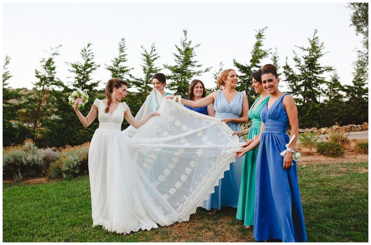 Bride and bridesmaids after the wedding