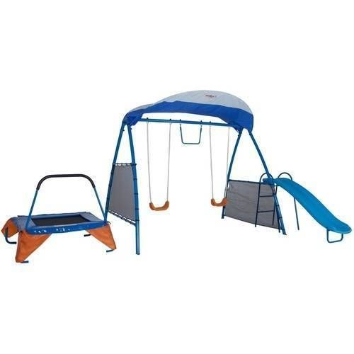 Outdoor-Swing-Playset-Plans-Metal-Outside-Glider-Slide-Trampoline-Gym-Fitness