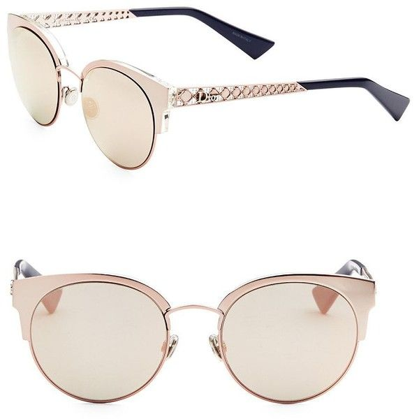 Dior Diorama Mini 54MM Mirrored Cat Eye Sunglasses (2,025 SAR) ❤ liked on Polyvore featuring accessories, eyewear, sunglasses, metal sunglasses, cateye sunglasses, mirrored lens sunglasses, christian dior glasses and pink glasses