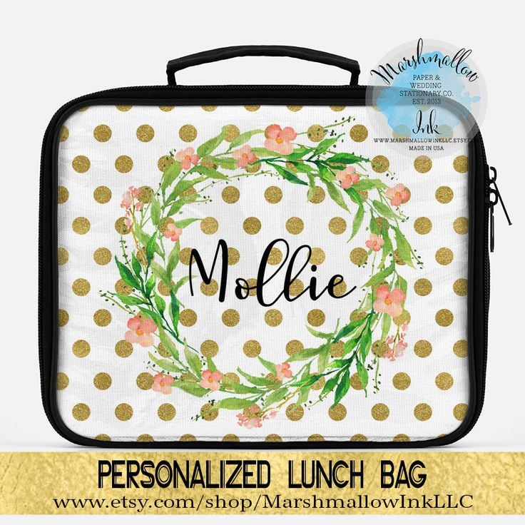 Lunch Bag Monogrammed Lunch Box Lunch Tote Personalized Insulated Lunch Bag For Women Personalized Lunch Bag Polka Dots Lunch Bag by MarshmallowInkLLC on Etsy