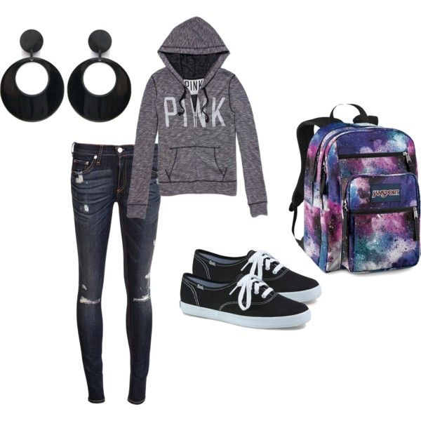 """Outfits for school, by aeris-mia-busa on Polyvore. I cant lie i really hate the ear rings with this outfit!"