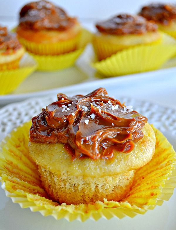 banana cupcakes with dulce de leche from Kitchen Meets Girl