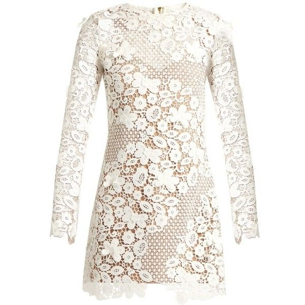 Self-portrait Floral guipure-lace mini dress (€410) ❤ liked on Polyvore featuring dresses, vestidos, short dresses, white, mini dress, white lace slip, short lace dress, white slip and lace slip