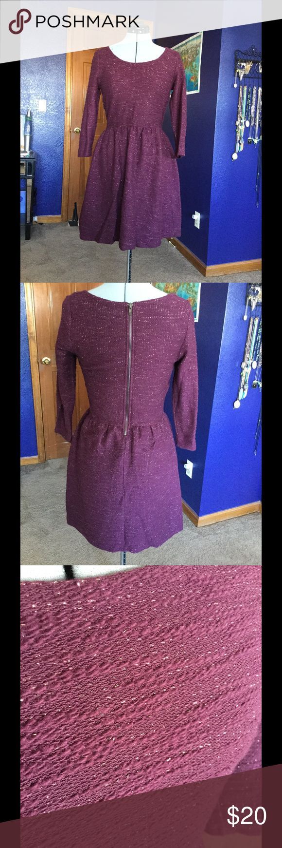 Maison Jules Plum and Gold Dress A beautiful plum colored dress with flecks of gold in the fabric. Never worn, in new condition. It has a zipper on the back and quarter length sleeves. Maison Jules Dresses