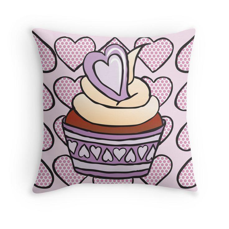 Throw Pillow - Cupcake 02 #popart #homedecor #redbubble