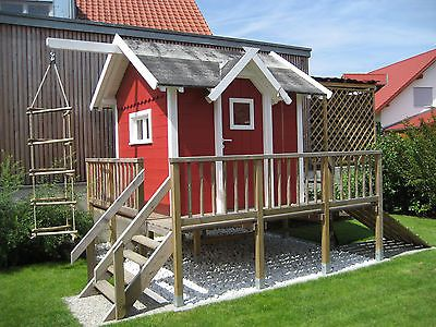 Kinderspielhaus Spielhaus Stelzenhaus Terrasse Schwedenhaus Haus Garten