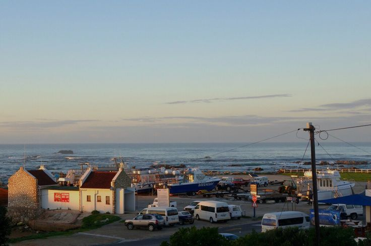 Kleinbaai harbour from the crewhouse. Shark cage diving with kids in South Africa Great White Shark Tours