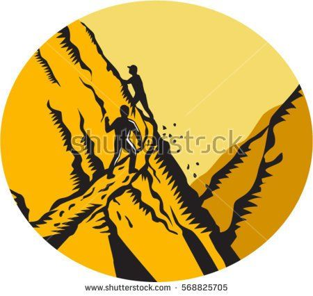 Illustration of trampers climbing a very steep path, narrow, sharp drop off in the mountains cliff set inside oval shape done in retro woodcut style.  #hiking #woodcut #illustration