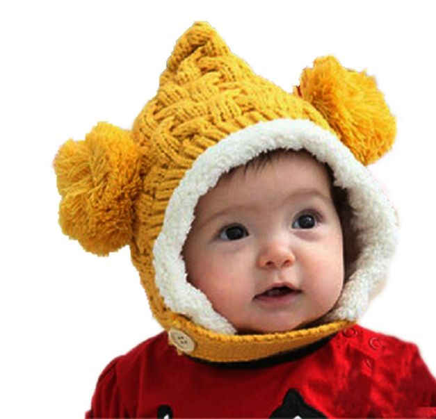 Crochet Knit Loose Baby Beanie Warm Kid Baby Girl Boy Dual Balls Ear Wool Cap Earflap Hat