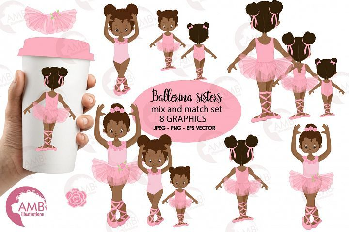 Ballerina sisters, ballerina friends, ballet clipart, graphics and illustrations AMB-2264