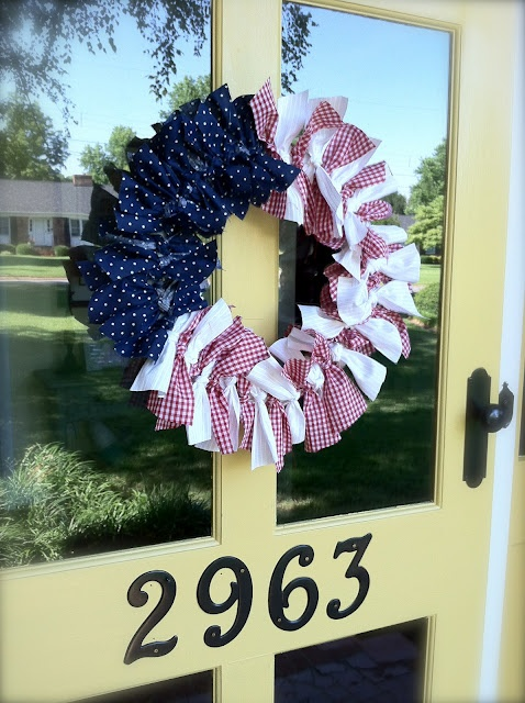 red white and blue rag wreath! diy